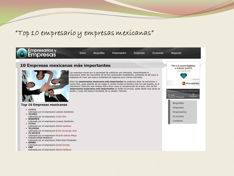 Top 10 empresario y empresas mexicanas