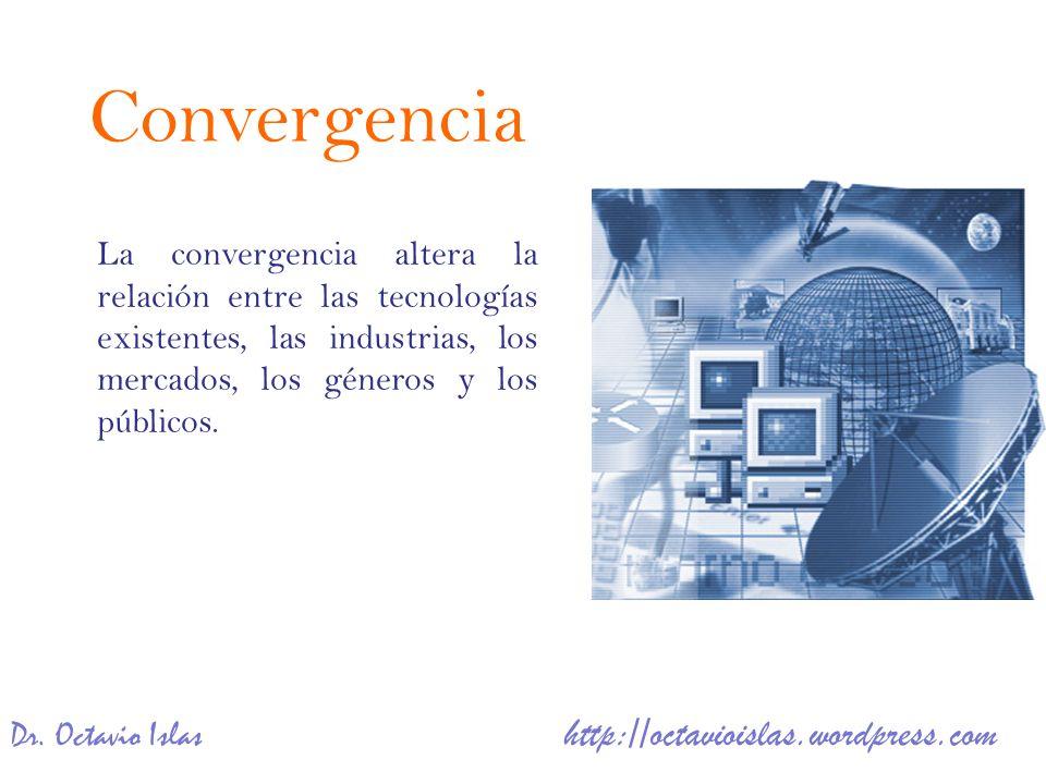 ConvergenciaLa convergencia altera la relación entre las tecnologías existentes, las industrias, los mercados, los géneros y los públicos.