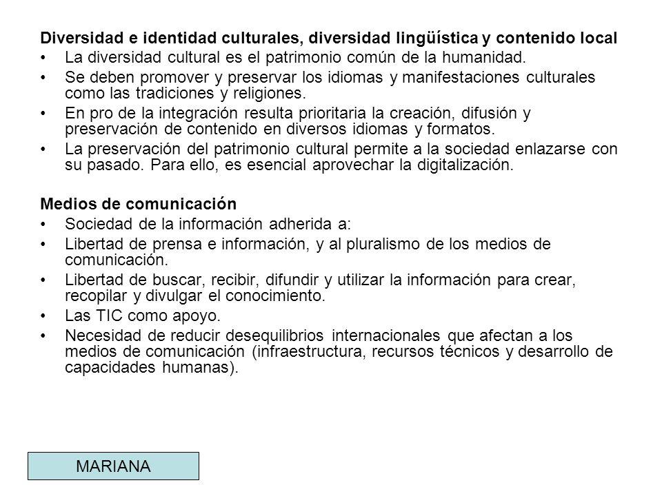 Diversidad e identidad culturales, diversidad lingüística y contenido local