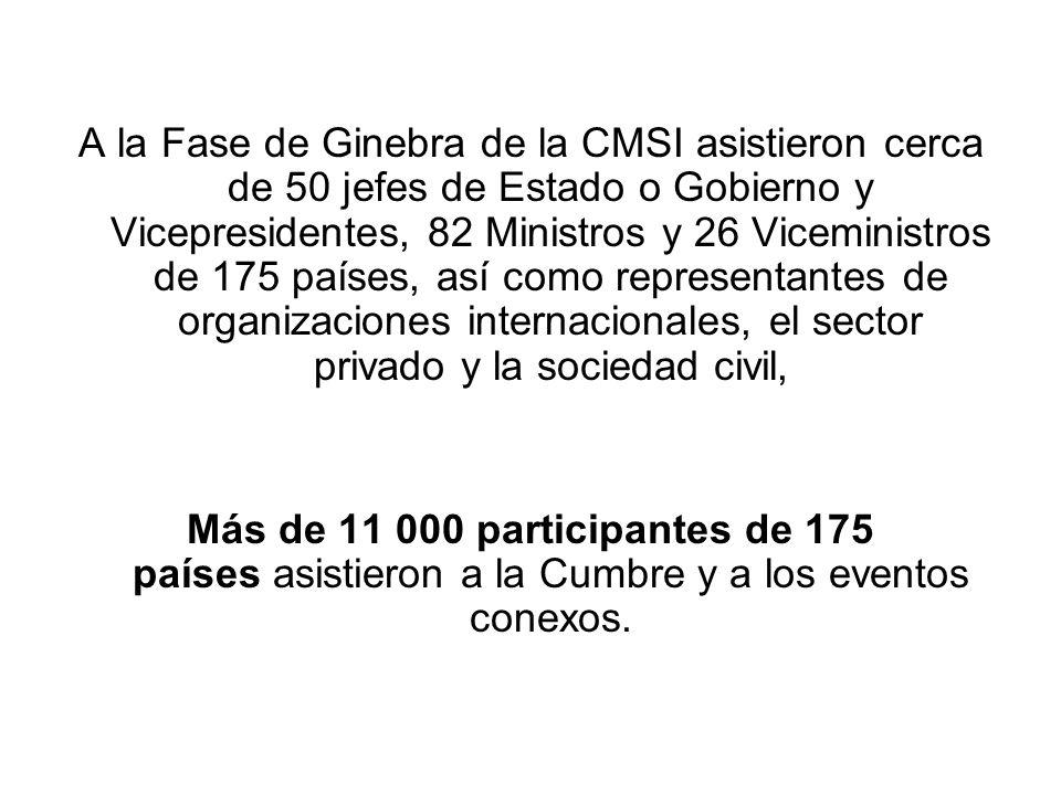 A la Fase de Ginebra de la CMSI asistieron cerca de 50 jefes de Estado o Gobierno y Vicepresidentes, 82 Ministros y 26 Viceministros de 175 países, así como representantes de organizaciones internacionales, el sector privado y la sociedad civil,