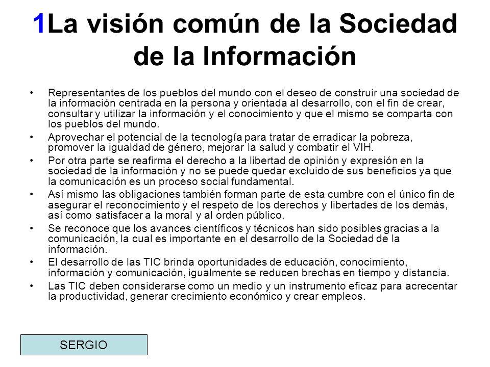 1La visión común de la Sociedad de la Información