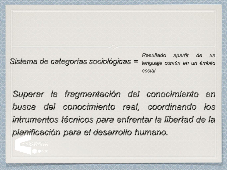 Sistema de categorías sociológicas =