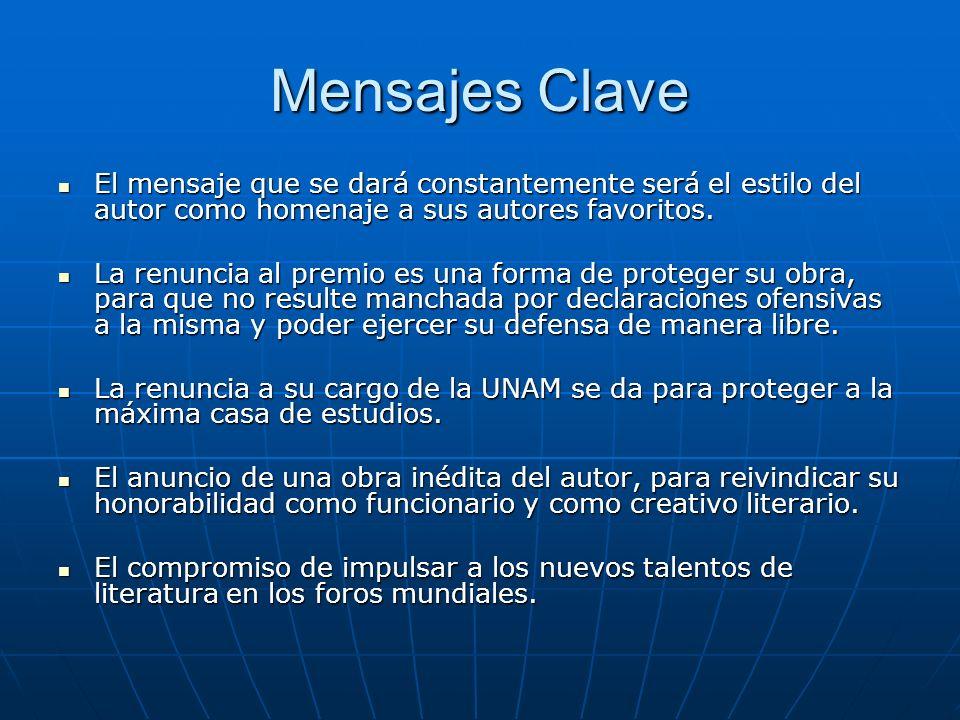 Mensajes Clave El mensaje que se dará constantemente será el estilo del autor como homenaje a sus autores favoritos.