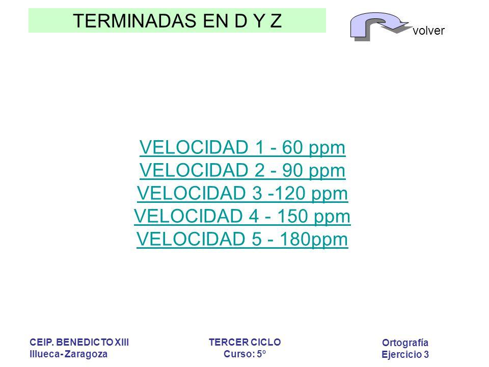 VELOCIDAD 1 - 60 ppm VELOCIDAD 2 - 90 ppm VELOCIDAD 3 -120 ppm VELOCIDAD 4 - 150 ppm VELOCIDAD 5 - 180ppm
