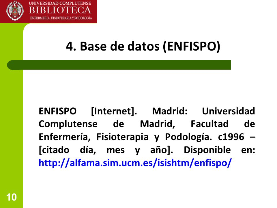 4. Base de datos (ENFISPO)