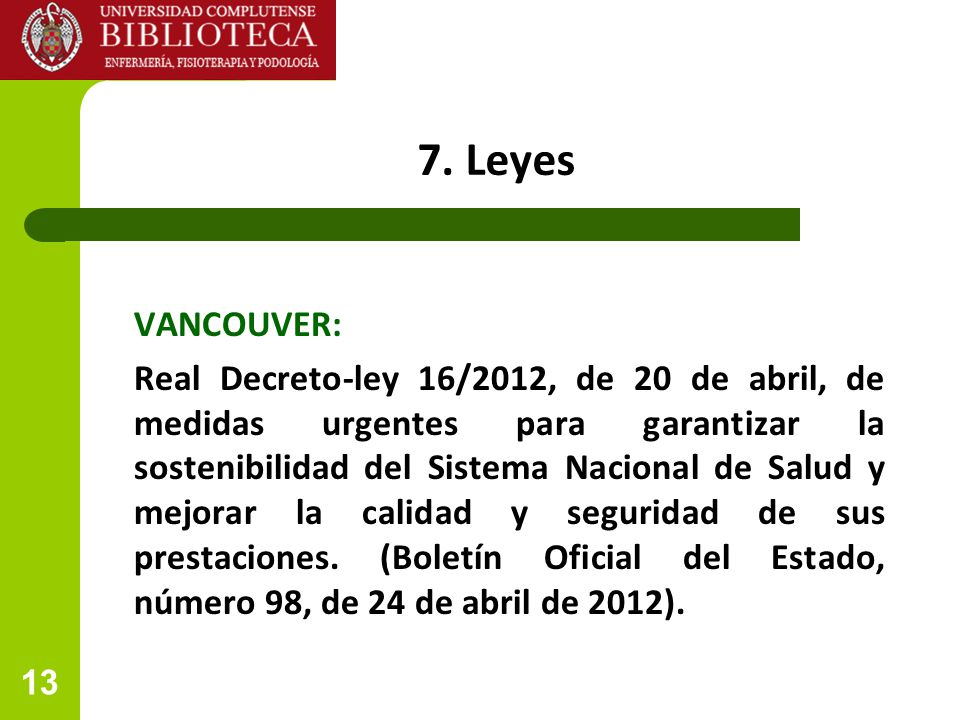 7. Leyes VANCOUVER: