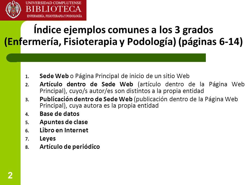 Índice ejemplos comunes a los 3 grados (Enfermería, Fisioterapia y Podología) (páginas 6-14)