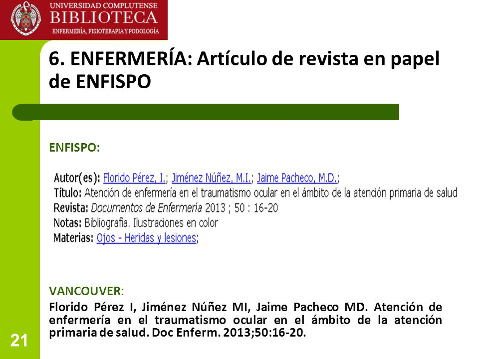 6. ENFERMERÍA: Artículo de revista en papel de ENFISPO