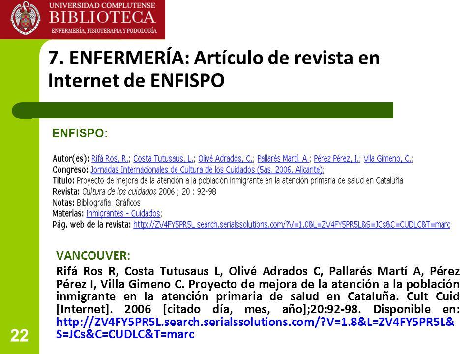 7. ENFERMERÍA: Artículo de revista en Internet de ENFISPO
