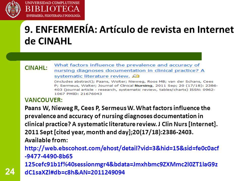 9. ENFERMERÍA: Artículo de revista en Internet de CINAHL