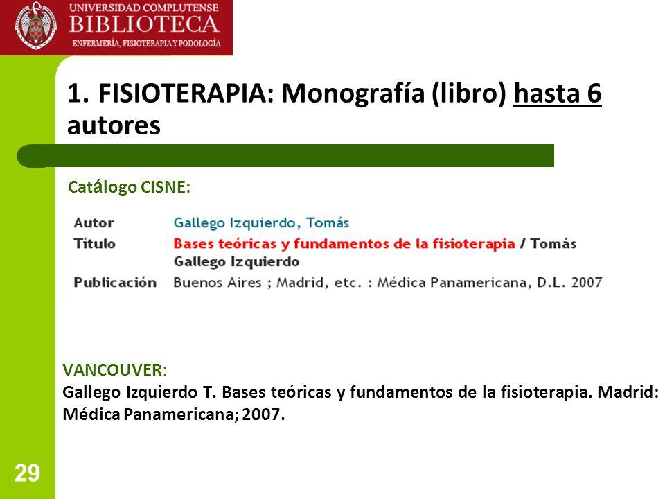 1. FISIOTERAPIA: Monografía (libro) hasta 6 autores