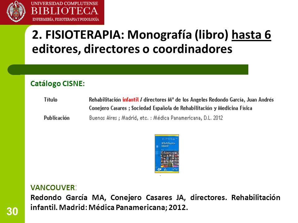 2. FISIOTERAPIA: Monografía (libro) hasta 6 editores, directores o coordinadores