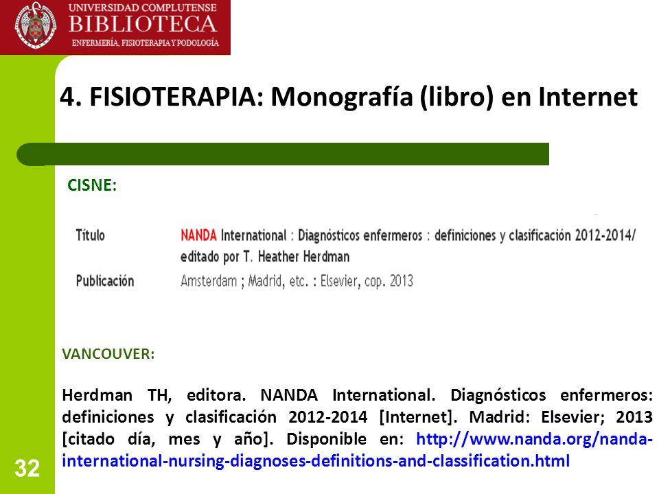 4. FISIOTERAPIA: Monografía (libro) en Internet