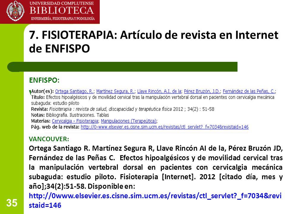 7. FISIOTERAPIA: Artículo de revista en Internet de ENFISPO