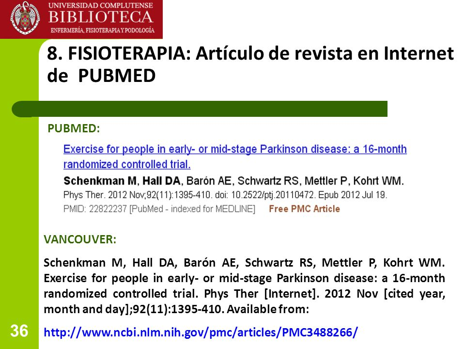8. FISIOTERAPIA: Artículo de revista en Internet de PUBMED