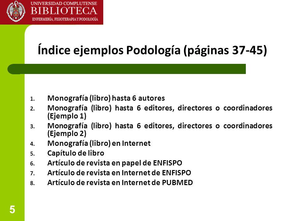Índice ejemplos Podología (páginas 37-45)