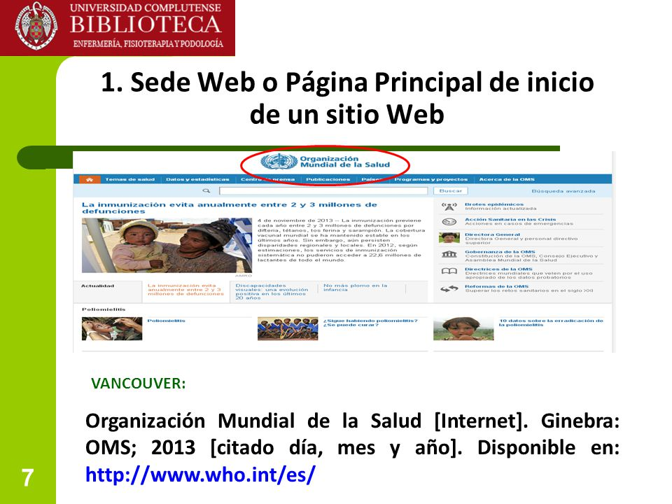 1. Sede Web o Página Principal de inicio de un sitio Web