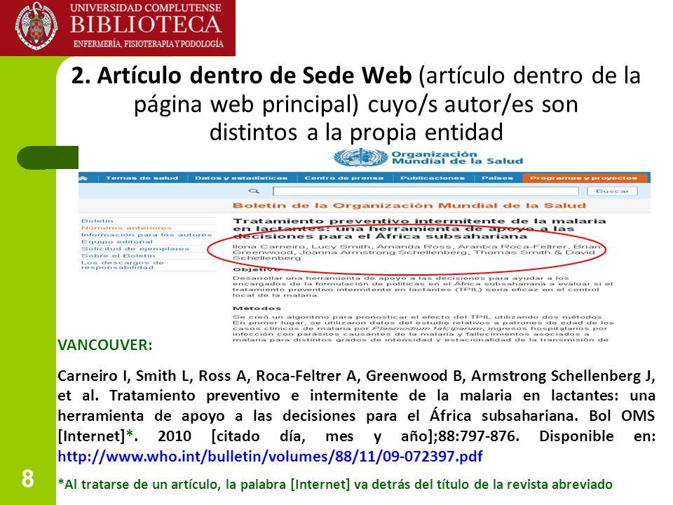 2. Artículo dentro de Sede Web (artículo dentro de la página web principal) cuyo/s autor/es son distintos a la propia entidad