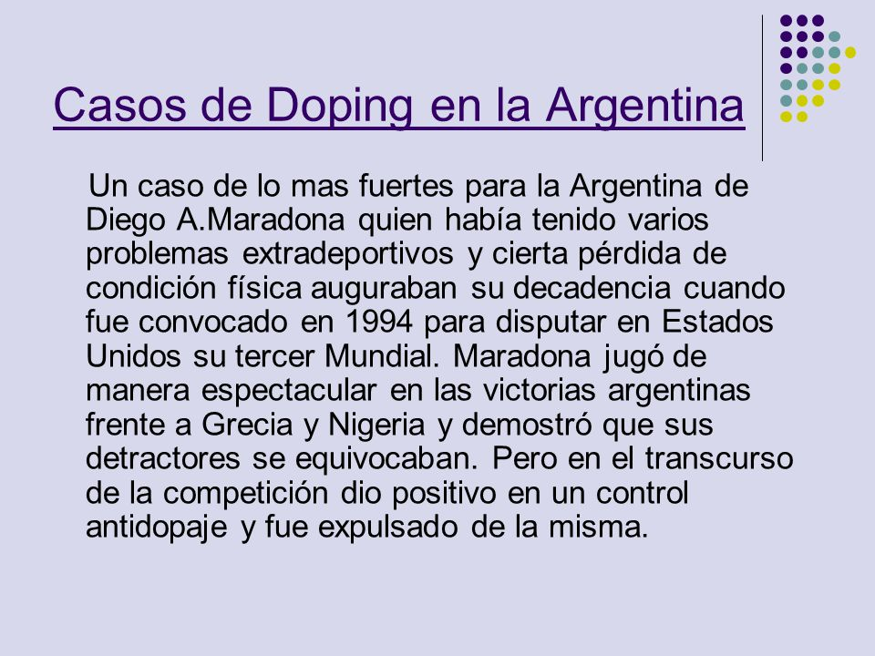 Casos de Doping en la Argentina