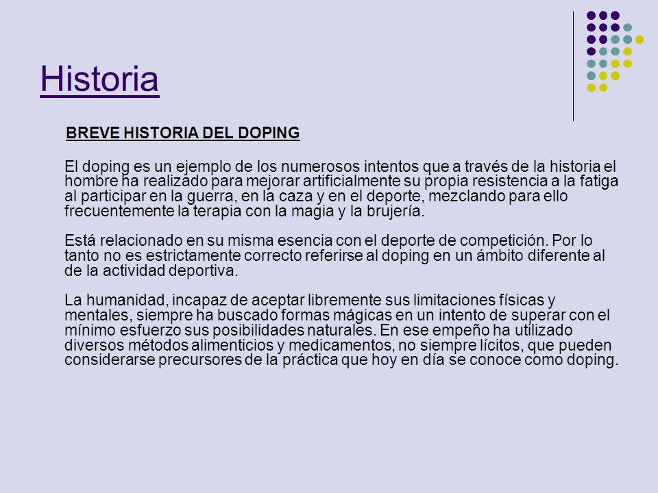Historia BREVE HISTORIA DEL DOPING