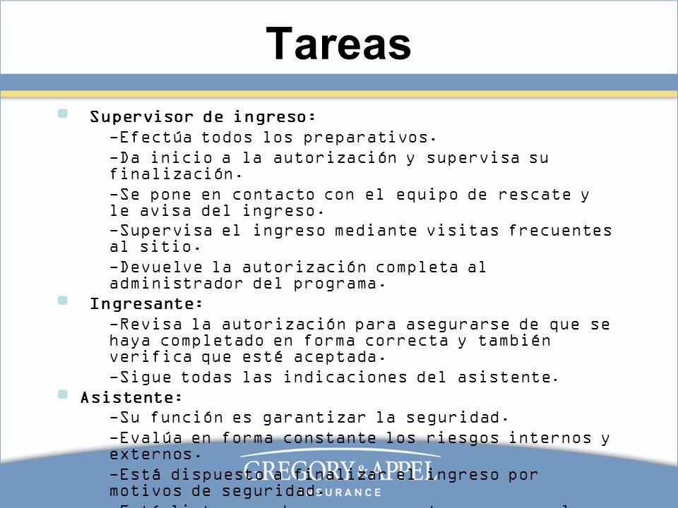 Tareas Supervisor de ingreso: