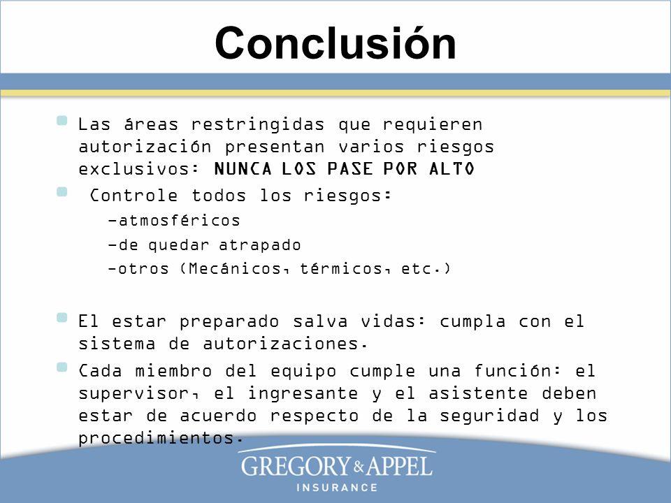 Conclusión Las áreas restringidas que requieren autorización presentan varios riesgos exclusivos: NUNCA LOS PASE POR ALTO.