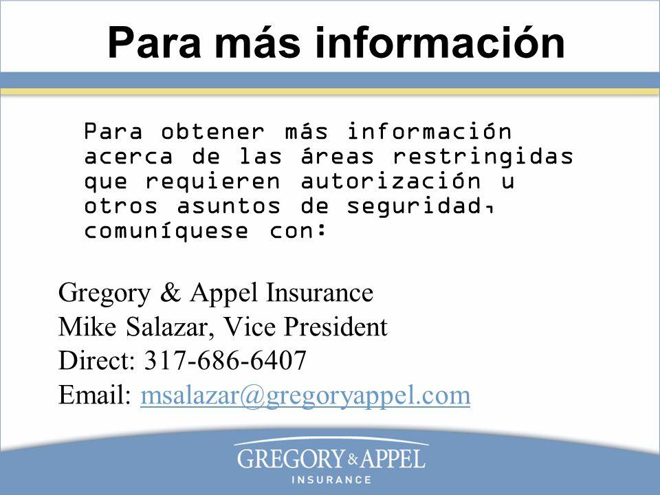 Para más información Gregory & Appel Insurance