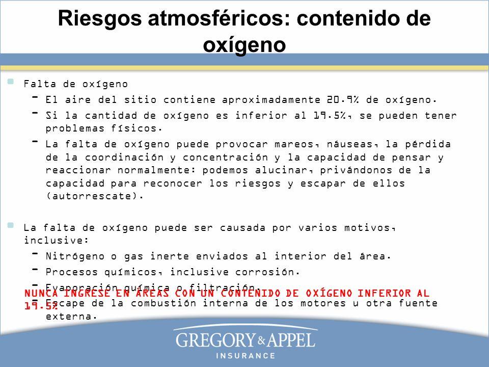 Riesgos atmosféricos: contenido de oxígeno