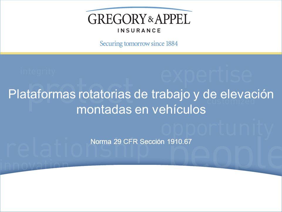 Plataformas rotatorias de trabajo y de elevación montadas en vehículos