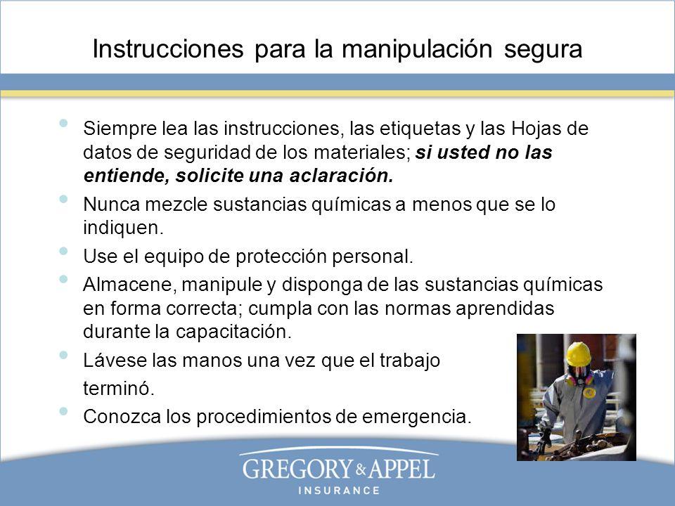 Instrucciones para la manipulación segura