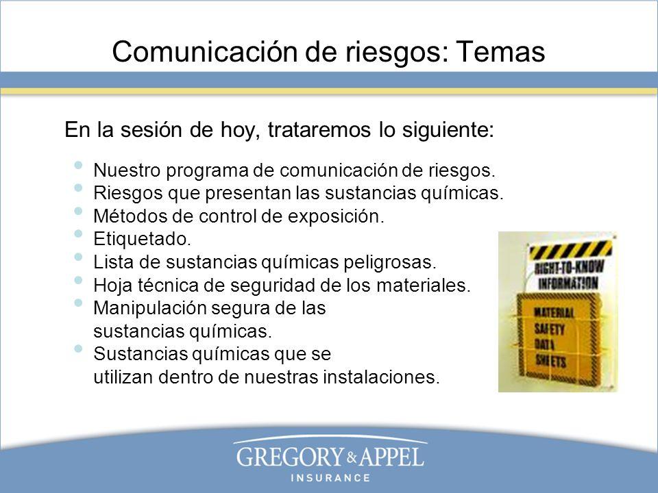 Comunicación de riesgos: Temas