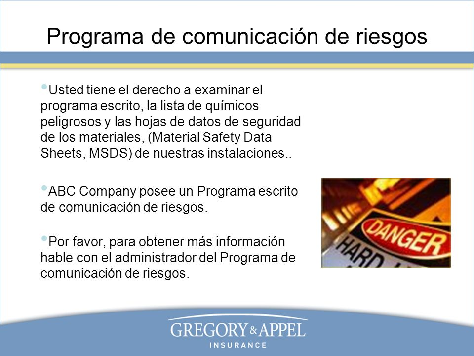 Programa de comunicación de riesgos