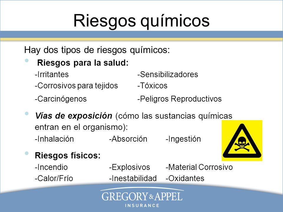 Riesgos químicos Hay dos tipos de riesgos químicos:
