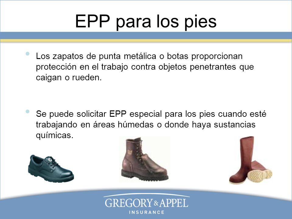 EPP para los piesLos zapatos de punta metálica o botas proporcionan protección en el trabajo contra objetos penetrantes que caigan o rueden.