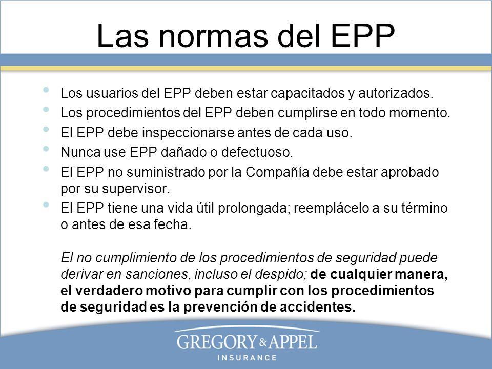 Las normas del EPP Los usuarios del EPP deben estar capacitados y autorizados. Los procedimientos del EPP deben cumplirse en todo momento.