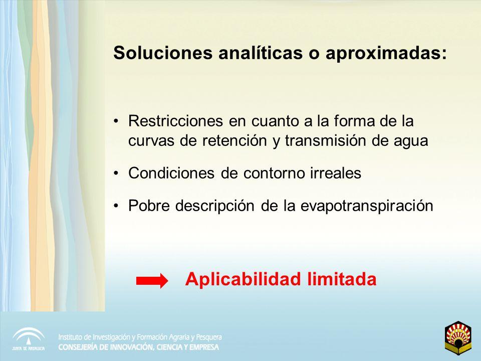 Soluciones analíticas o aproximadas: