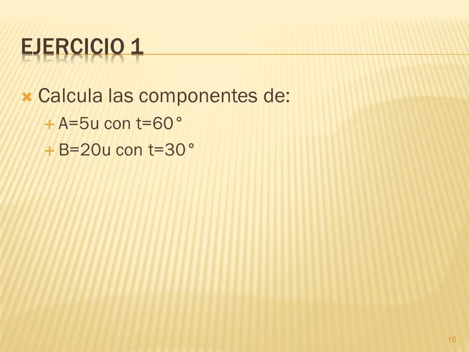 Ejercicio 1 Calcula las componentes de: A=5u con t=60° B=20u con t=30°