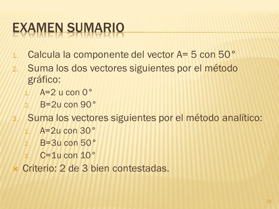 Examen sumario Calcula la componente del vector A= 5 con 50°
