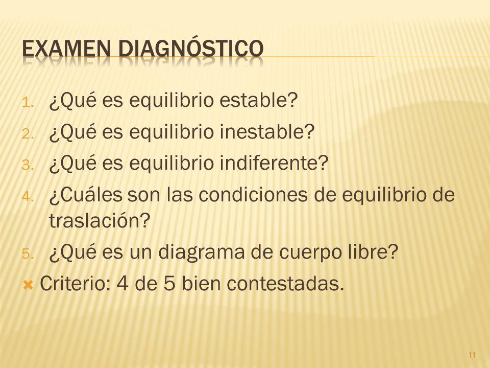 Examen diagnóstico ¿Qué es equilibrio estable
