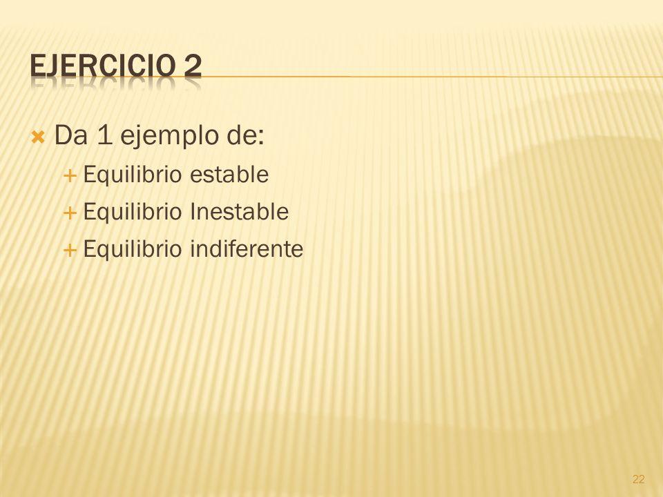 Ejercicio 2 Da 1 ejemplo de: Equilibrio estable Equilibrio Inestable
