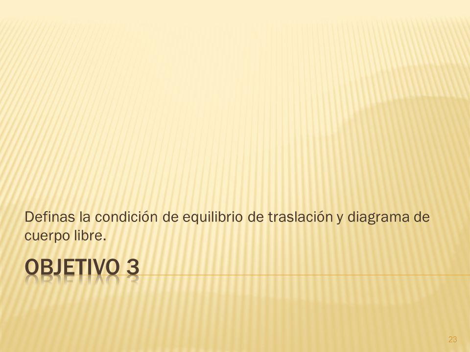 Definas la condición de equilibrio de traslación y diagrama de cuerpo libre.