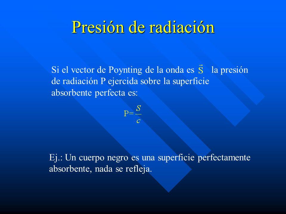 Presión de radiación Si el vector de Poynting de la onda es la presión de radiación P ejercida sobre la superficie absorbente perfecta es: