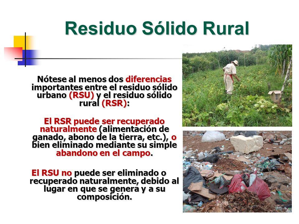 Residuo Sólido Rural Nótese al menos dos diferencias importantes entre el residuo sólido urbano (RSU) y el residuo sólido rural (RSR):