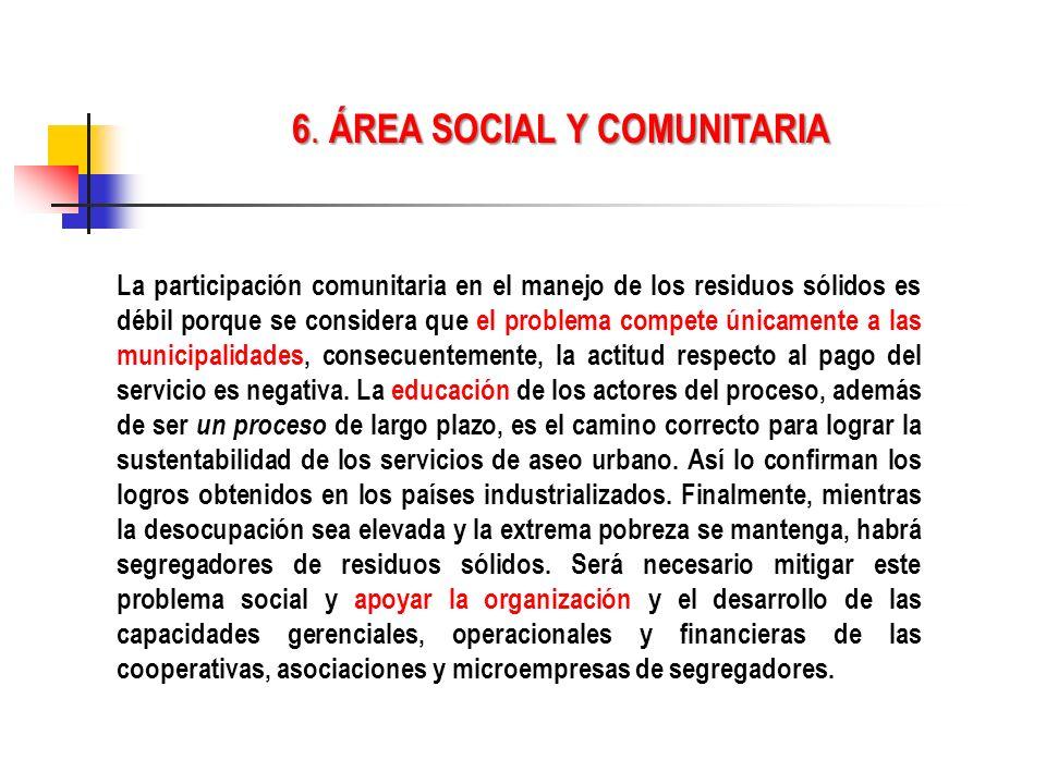6. ÁREA SOCIAL Y COMUNITARIA
