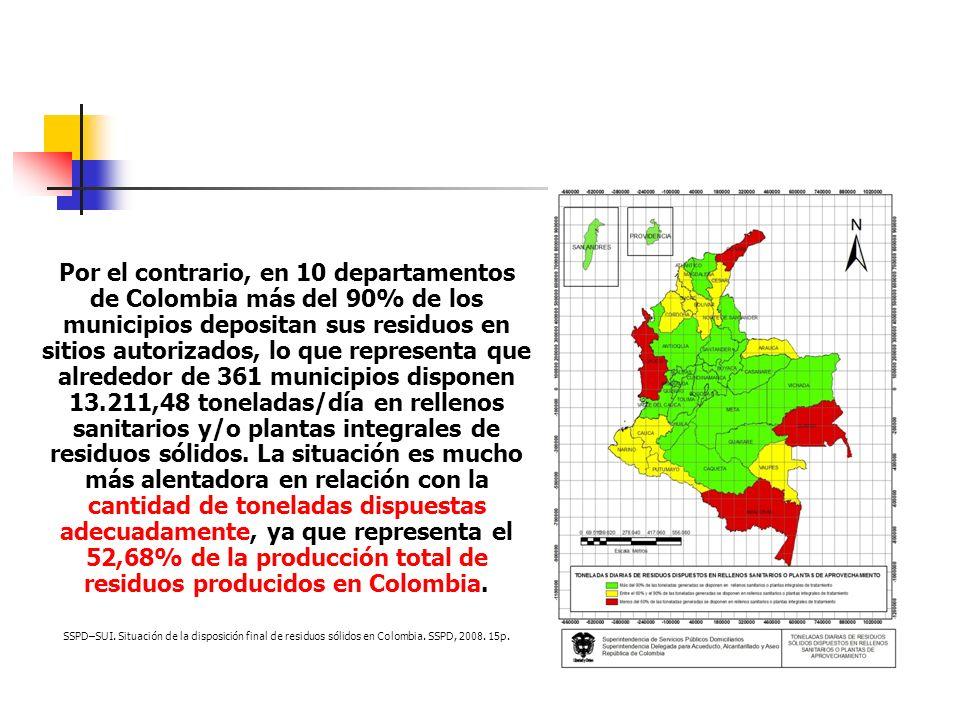 Por el contrario, en 10 departamentos de Colombia más del 90% de los municipios depositan sus residuos en sitios autorizados, lo que representa que alrededor de 361 municipios disponen 13.211,48 toneladas/día en rellenos sanitarios y/o plantas integrales de residuos sólidos. La situación es mucho más alentadora en relación con la cantidad de toneladas dispuestas adecuadamente, ya que representa el 52,68% de la producción total de residuos producidos en Colombia.
