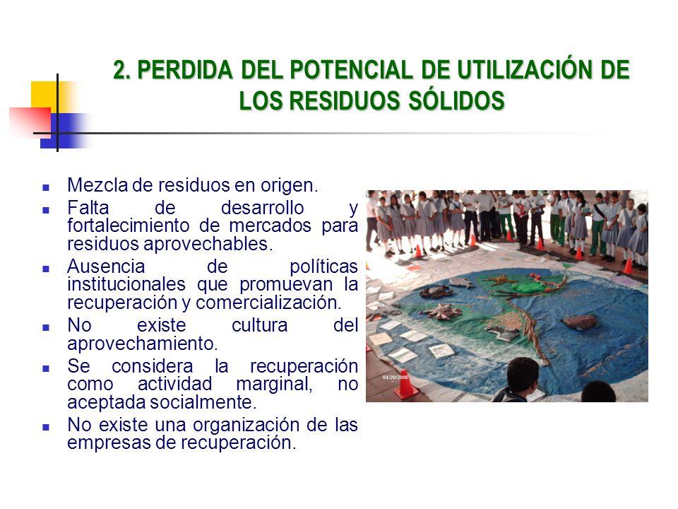 2. PERDIDA DEL POTENCIAL DE UTILIZACIÓN DE LOS RESIDUOS SÓLIDOS