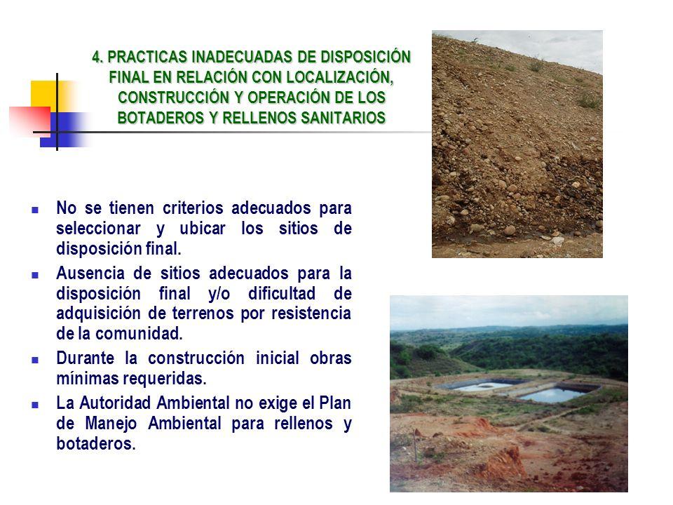 Durante la construcción inicial obras mínimas requeridas.