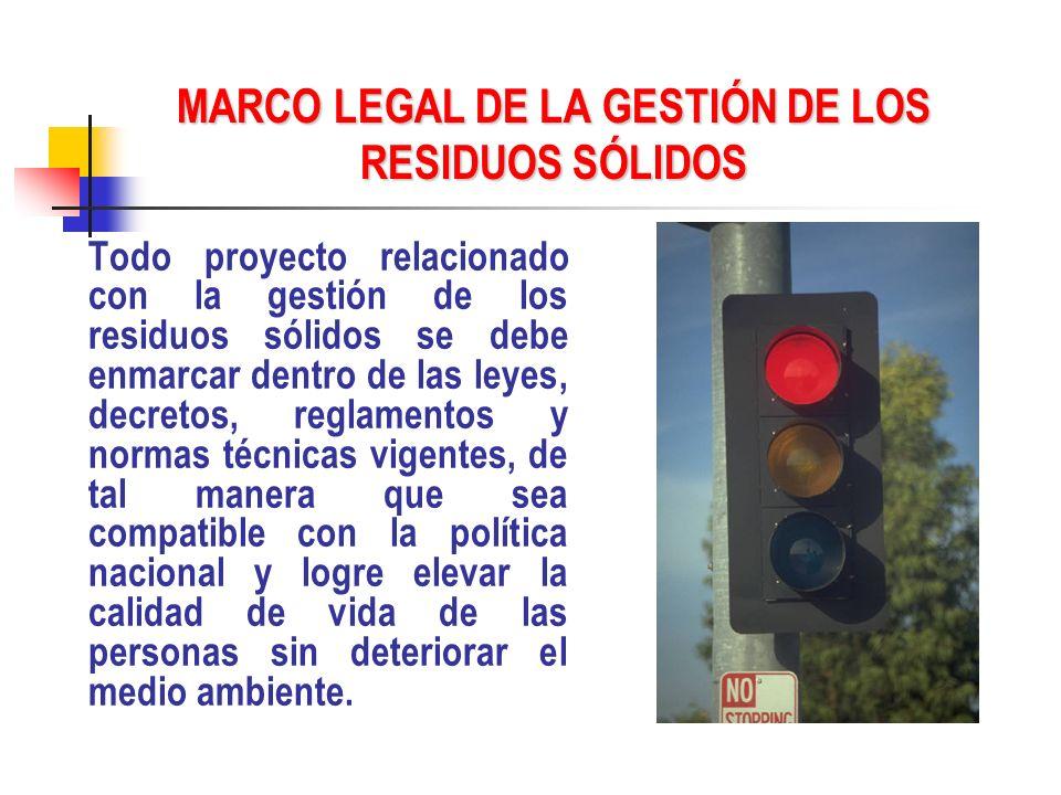MARCO LEGAL DE LA GESTIÓN DE LOS RESIDUOS SÓLIDOS