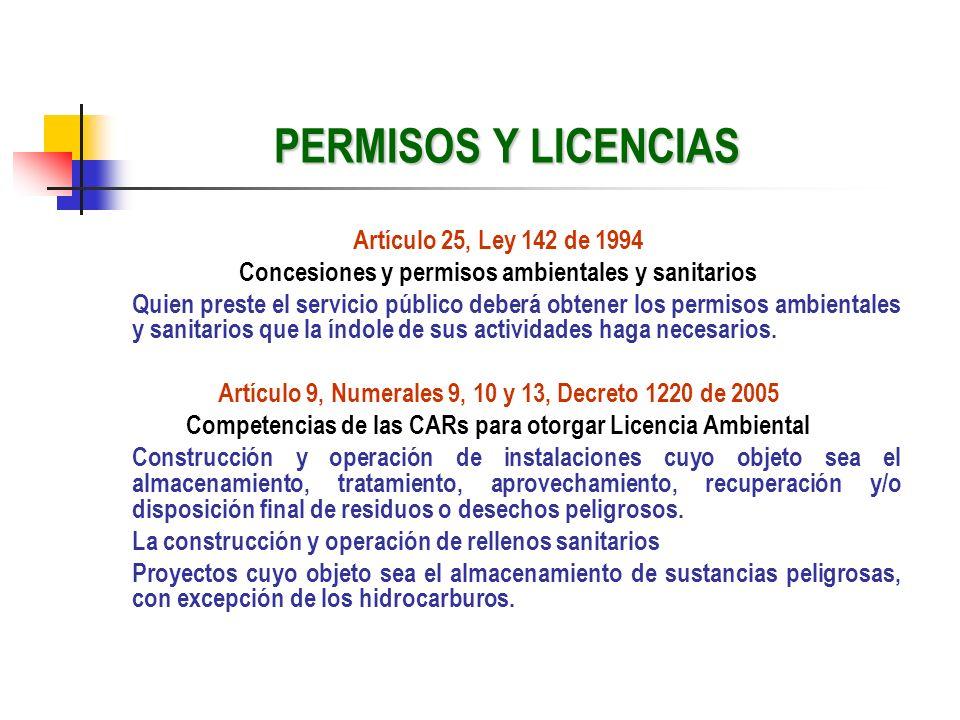 PERMISOS Y LICENCIAS Artículo 25, Ley 142 de 1994