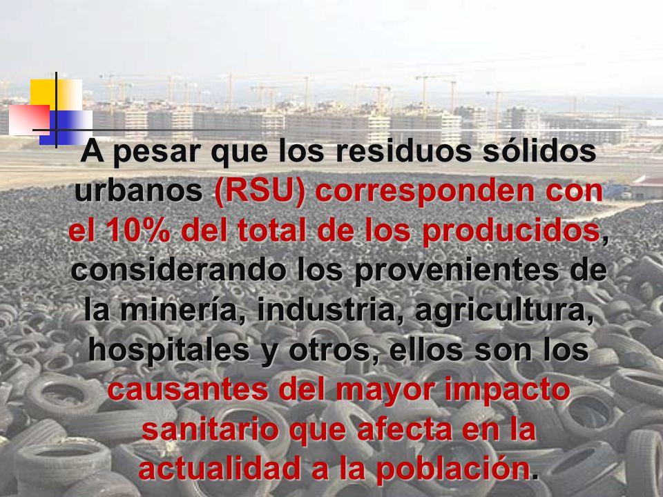 A pesar que los residuos sólidos urbanos (RSU) corresponden con el 10% del total de los producidos, considerando los provenientes de la minería, industria, agricultura, hospitales y otros, ellos son los causantes del mayor impacto sanitario que afecta en la actualidad a la población.